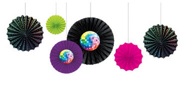 Disco Fever Paper Fan Decorations 6ct