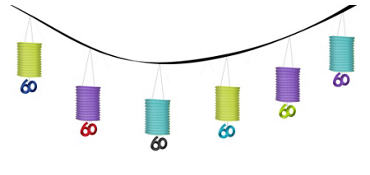 The Party Continues 60th Birthday Paper Lantern Garland 12ft