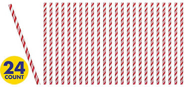 Red & White Striped Paper Straws 24ct