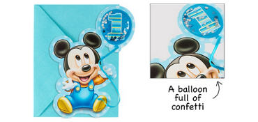 Premium 3D 1st Birthday Mickey Mouse Invitations 8ct