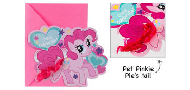 Premium Glitter Pinkie Pie Invitations 8ct - My Little Pony