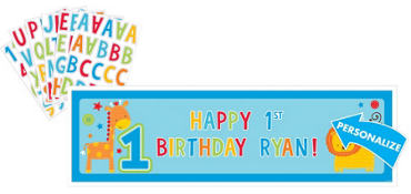 Wild at One Boy's 1st Birthday Personalized  Banner
