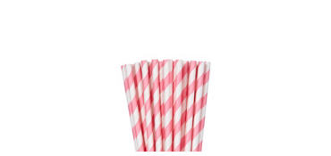 Pink Striped Paper Straws 24ct