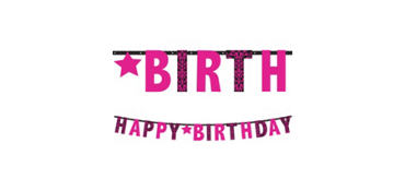 Giant Black & Pink Happy Birthday Letter Banner