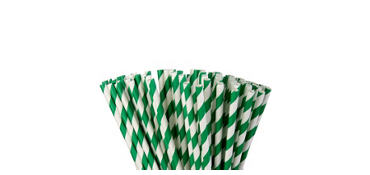 Festive Green Striped Paper Straws 80ct