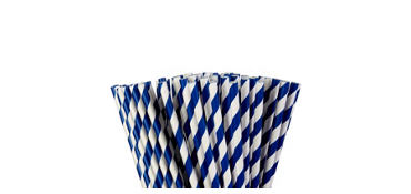 Royal Blue Striped Paper Straws 80ct