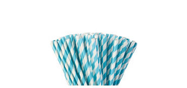 Caribbean Blue Striped Paper Straws 80ct