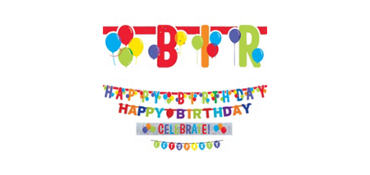 Rainbow Balloon Bash Birthday Banners 4ct