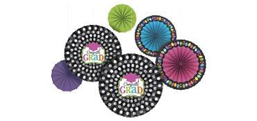 Dream Big Graduation Paper Fan Decorations 6ct