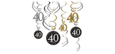 40th Birthday Swirl Decorations 12ct - Sparkling Celebration