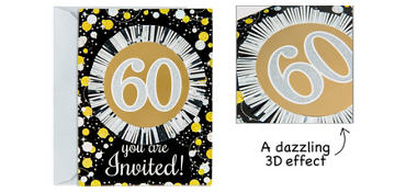 Premium Prismatic 60th Birthday Invitations 8ct - Sparkling Celebration