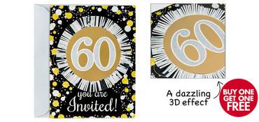 Premium Prismatic 60th Birthday Invitations 8ct - Sparkling Celebration