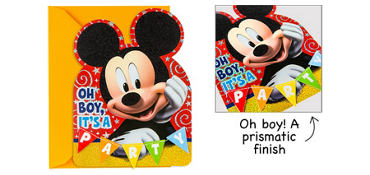 Premium Prismatic Mickey Mouse Invitations 8ct