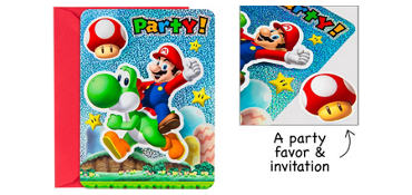 Premium Prismatic Super Mario Invitations with Badges 8ct