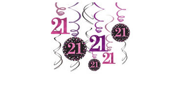 21st Birthday Swirl Decorations 12ct - Pink Sparkling Celebration