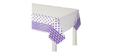 Purple Polka Dot & Chevron Plastic Table Cover