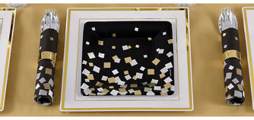 Metallic Black, Gold & Silver Squares Party Supplies