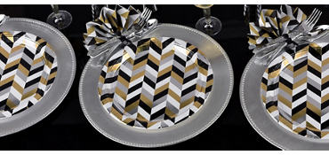 Metallic Black, Gold & Silver Herringbone Party Supplies
