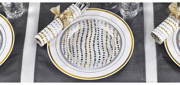 Metallic Silver & Gold Wavy Dots Party Supplies