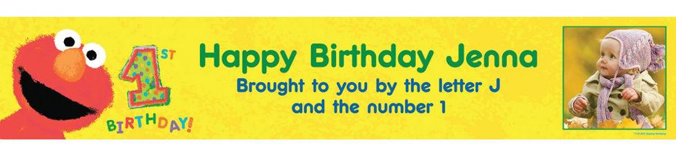 1st Birthday Banner With Photo Elmo 1st Birthday Custom Photo
