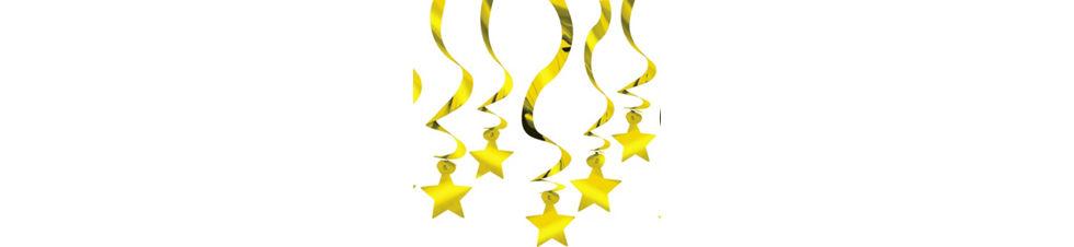 gold star swirl decorations 30ct - Gold Decorations