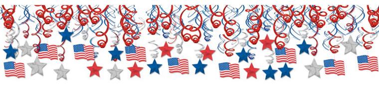 Patriotic Swirl Decorations 30ct