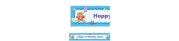 Custom Hugs & Stitches Boy Birthday Banner 6ft