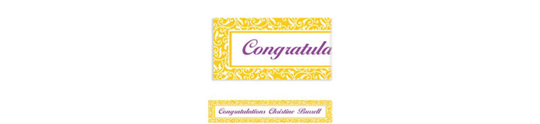 Custom Sunshine Yellow Ornamental Scroll Banner 6ft