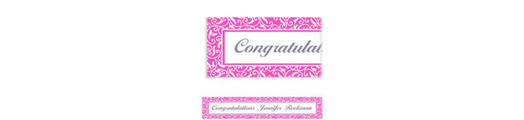 Custom Bright Pink Ornamental Scroll Banner 6ft