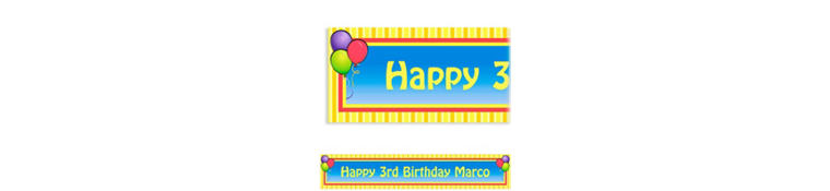 Custom Balloons & Stripes Banner 6ft