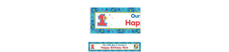 Custom One-Derful Birthday Boy Photo Banner 6ft