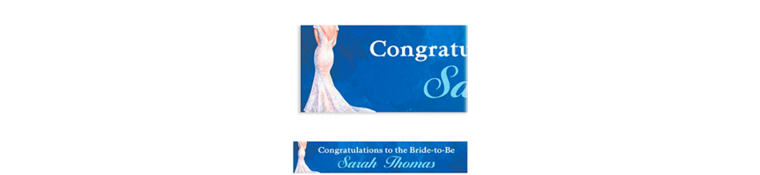 Bride in Gown Dark Custom Bridal Shower Banner