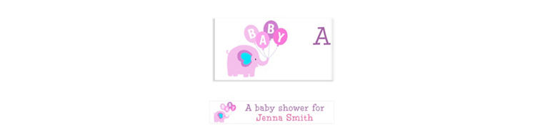 Custom Animals with Girl Balloons Baby Shower Banner 6ft