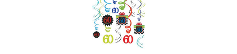 Celebrate 60th Birthday Swirl Decorations 30ct