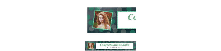 Custom Glitter Mint Frames and Dots Graduation Photo Banner