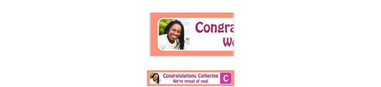 Custom Salmon Color Block Initial Graduation Photo Banner