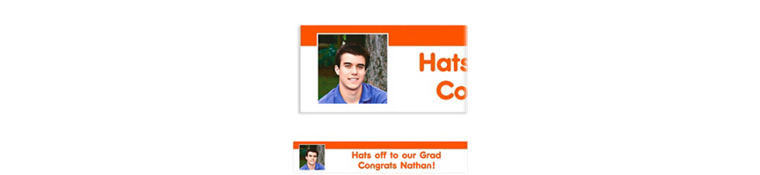 Custom Orange Block Initial Graduation Photo Banner