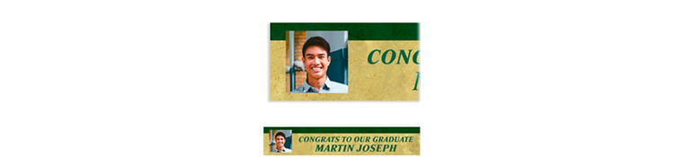 Custom Gold & Green Textured Graduation Photo Banner