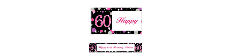Custom Pink Sparkling Celebration 60 Banner