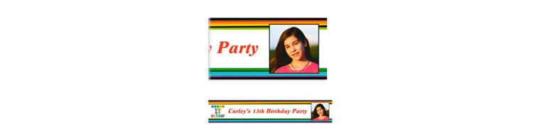Custom Rainbow 13th Birthday Photo Banner