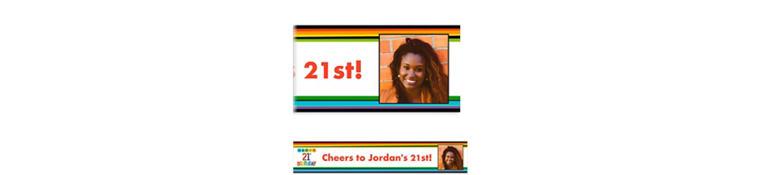 Custom Rainbow 21st Birthday Photo Banner