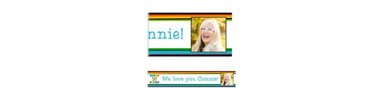 Custom Rainbow 50th Birthday Photo Banner