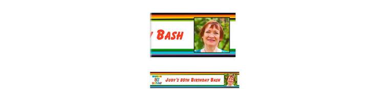 Custom Rainbow 80th Birthday Photo Banner