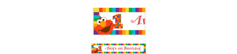 Custom Elmo 1st Birthday Banner