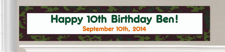 Custom Camouflage Birthday Banners