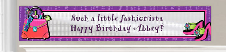 Custom Glitzy Girl Birthday Banners