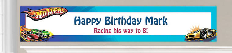 Custom Hot Wheels Birthday Banners