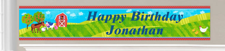 Custom Barnyard Birthday Banners