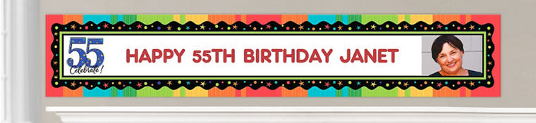 Custom 55th Birthday Banners