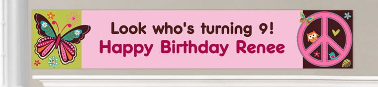Custom Hippie Chick Birthday Banners